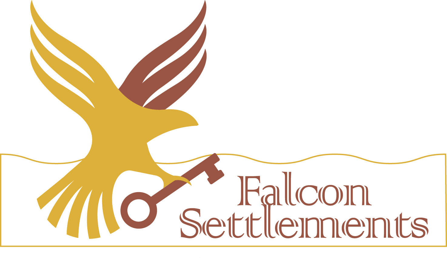 Illustration of a Falcon in flight holding a key over the words 'Falcon Settlements'