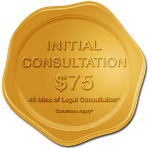 Golden Wax Seal with the words 'Initial Consultation $75: 45 Mins of Legal Consultation - conditions apply'