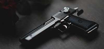 Revolver gun on a table